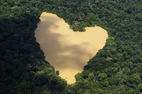 Heart-Shaped Lake - Amazon River Basin - Brazil