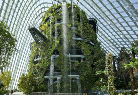 cloud forest waterfall gardens by the bay conservatory - Garden By The Bay Mrt Station